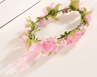 PRISCILLA - Silk White and Pink Flower Crown