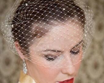 GLENDA -  Birdcage Veil Hair Piece