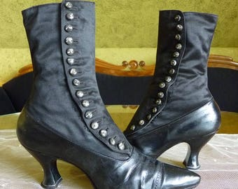 1900-1910 Victorian  High Button Boots, antike Knopfstiefel, antique Shoes