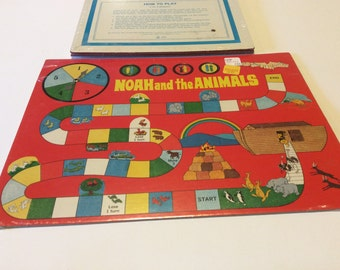 Set of 4 Vintage Noah and the Animals Bible Spinner Games