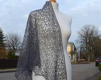 Scarf, shawl, lace scarf, shawl with beads, hand-knitted