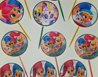 Shimmer and Shine 12pc. Cup Cake Toppers
