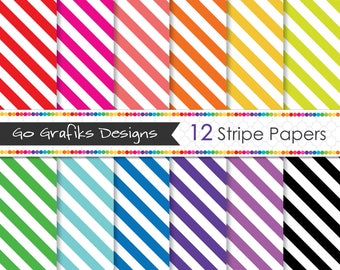 Stripes Diagonal Digital Paper Set Rainbow Colours & White-Scrapbooking, Craft Use, Digital Backgrounds-Personal and Commercial Use #DP08