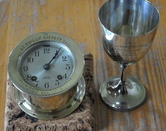 WW2 Chelsea Ships Bell Clock Royal Navy Captain