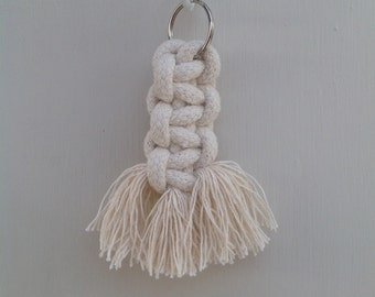 Chunky square knot macrame keyring made with 100% cotton
