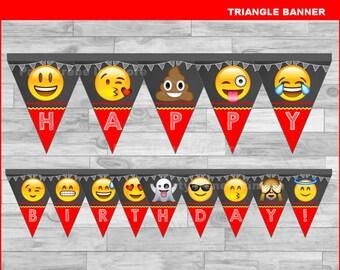 Emoji triangle Banner Instant download, Emoji Chalkboard Banner, Emoji banner