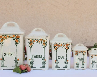 French vintage kitchen canister set of five - clementine design