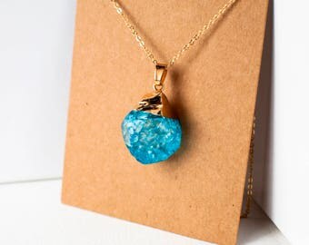 Blue crystal gold plated stone pendant necklace odd shaped