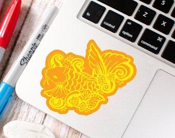 Orange and yellow Koi fish vinyl sticker laminated indoor and outdoor