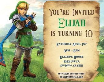 Legend of Zelda Birthday Invitation