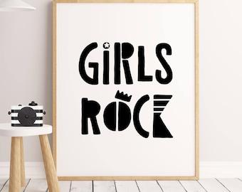 Girl Nursery print Girls Rock Modern Nursery Art, Baby Girl Nursery Print, Girls Room Print, Printable Kids Art,monochrome Decor,girls black