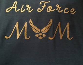 Airforce Glitter T Shirt.  Mom, Grandma, Nana, Sister, Girlfriend, Fiance, Aunt