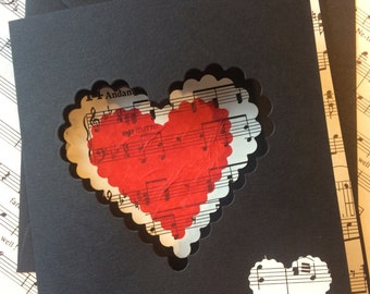 Anniversary card music theme vintage men women handmade  personlised  customisable hearts vintage thank you music teacher wedding exceptence