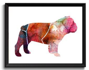 Printable Bulldog, Watercolor Bull Dog, Bulldog Wall Decor, Bull dog Poster, Bulldog Watercolor Art, Bulldog Wall Decor, Bulldog Painting