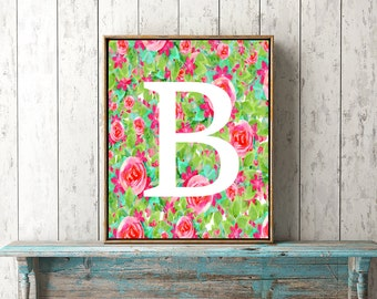 Watercolor Letter B Art- Letter B Artwork, Floral Letter Poster, Flower Letter Art, Printable Letter Art, Letter A download, Instant file