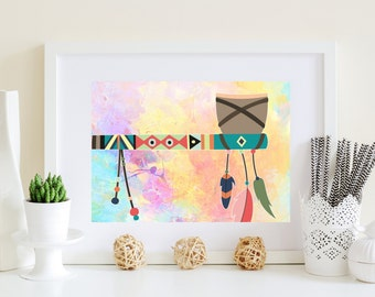 Axe Art print, Printable axe art, Axe poster, Indian Axe, Abstract axe art, rainbow axe art, axe artwork, feathers axe, digital download art