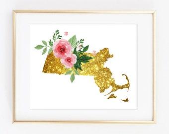 Massachusetts art, Massachusetts poster, MA poster, MA floral art, MA gold art, ma wall decor, ma glitter art, state sparkle art, printable