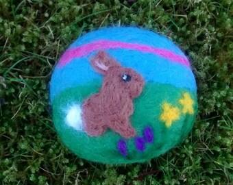 Felted Rabbit Pebble