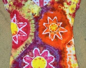 Ladies Tshirt handmade psychedelic Flowers tie dye