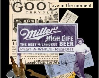 Vintage Girl, Collage Altered Art Ephemera Altered Art, Instant Download, Digital Original Sheet