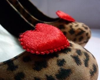 Deep Red Velvet (Queen of Hearts) Shoe Clips - Rockabilly, Vintage, Retro
