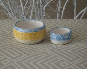 Ceramic succulent planter, set of 2, Ceramic pot, pottery planter, colored planter, handmade pottery planter, yellow and blue, one of a kind