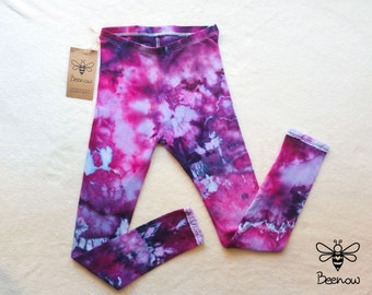 Ice Tie Dye Organic Cotton Girl's Leggings with Lace Hem, Size 7-8y