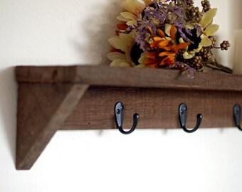 Reclaimed Wood Shelf, Farmhouse Style with Hooks