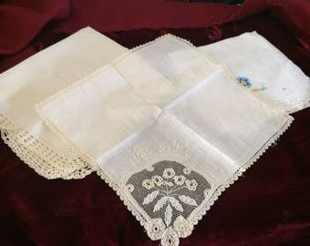 Lot of 3 Vintage Wedding Hankerchief with Beautiful Embroidery and European Lace