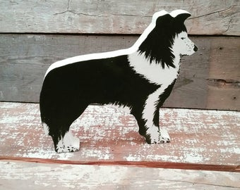 Border Collie Dog Ornament, Handpainted Wood Collie, Collie Decoration, Collie Ornament, Sheepdog, Dog lover gift, Collie Dog Keepsake,