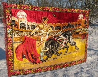 Vintage LARGE Wall Tapestry european carpet Velvet tapestry Bullfighter Gobelin Matador Bull Spanish buffalo with fringes Toreador cottage