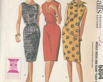 1963 Vintage Sewing Pattern B32 DRESS & SCARF (1072) McCalls 6804