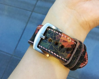 iWatch Band Leather Hand-Stitched Handmade Apple Watch Band, Series 1 Series 2, 42mm or 38mm Apple Watch Leather Band Watch Strap