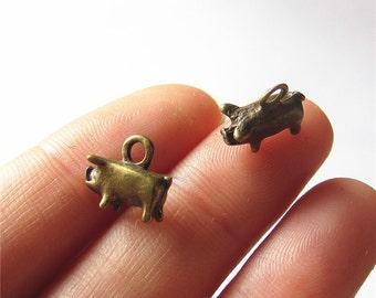Tiny Pig Charm Pendant Antique Brass Drop Handmade Jewelry Finding 5x11x12mm 5 pcs