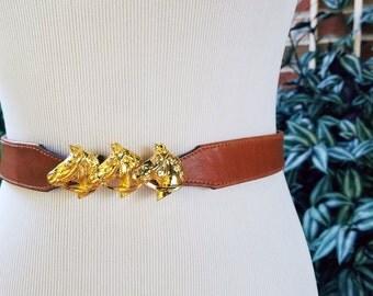 Vintage Leather Belt, Horse Belt Buckle, Horse Belt, Vintage Brown Belt, Brown Leather Belt, Gold Belt Buckle, Horses Belt, Vintage Horses