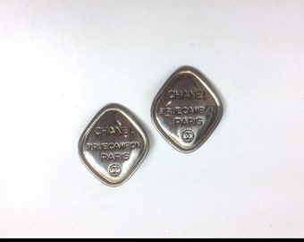 Chanel Vintage Silver with Gold Wash Vintage 1980s Clip on Earrings Authentic