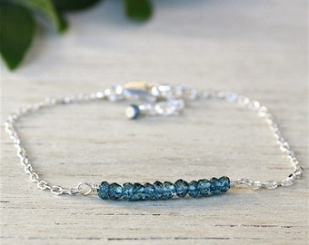 Bracelet stones Topaz gems on silver chain faceted solid