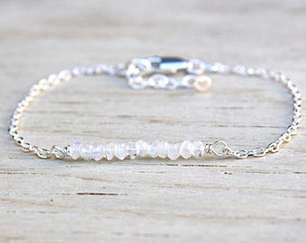 Bracelet chain Silver 925 and moonstones gems stones