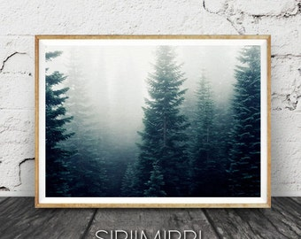 Forest Fog Print, Fog and Forest, Minimalist Wall Art, Nordic Nature,Mist Forest, Forest Prints,Forest, Forest Landscape Print, Foggy Forest