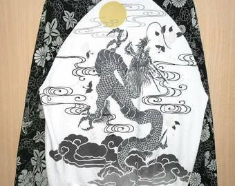 Rare!! Vintage Sukajan Dragon Flower Print Embroidery Spellout Zipper Jacket Sweater