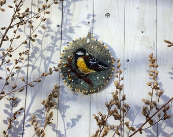 Felted embroidered pendant Tomtit - Pendant on waxed cord - Necklace -  Felted jewelry - Felted accessory