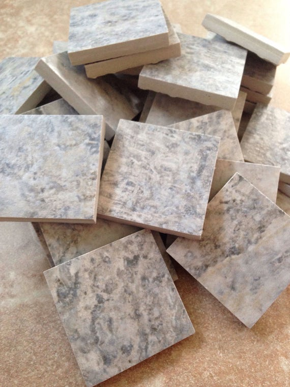 Mosaic tile supplies set of 30 square gray white tile for Mosaic pieces for crafts