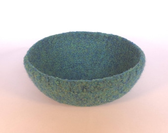 Sea green felted bowl 15cm