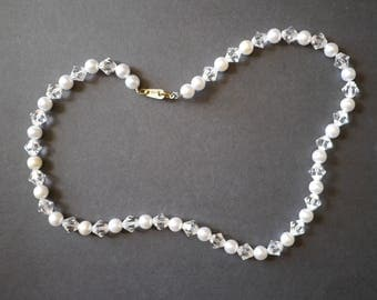 Vintage beaded necklace, faux pearl and glass faceted beads, made in India
