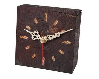 Reclaimed pine/spruce wood dark brown alarm clock Valentines Day Gift