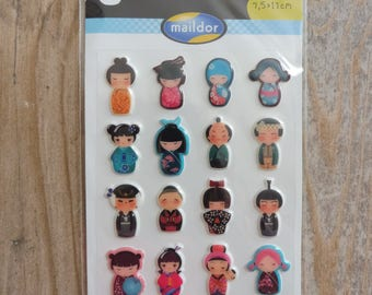 "Stickers ""Cooky"" small Japanese dolls"