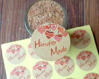"Tags/labels ""hand made"" 36 pieces/pieces set in kraft paper with vintage style design"