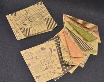 Sheets of kraft paper 18-piece vintage-style double face for scrapbooking