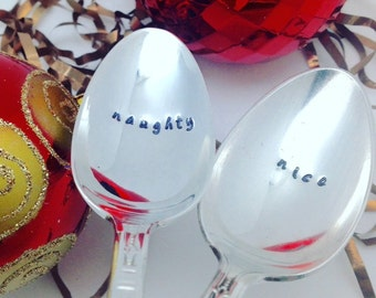Naughty or nice coffee spoons, hand stamped spoon