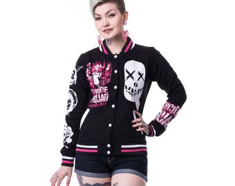 Suicide Squad Harley Quinn Femme Fatale Ladies Varsity Jacket (Black)